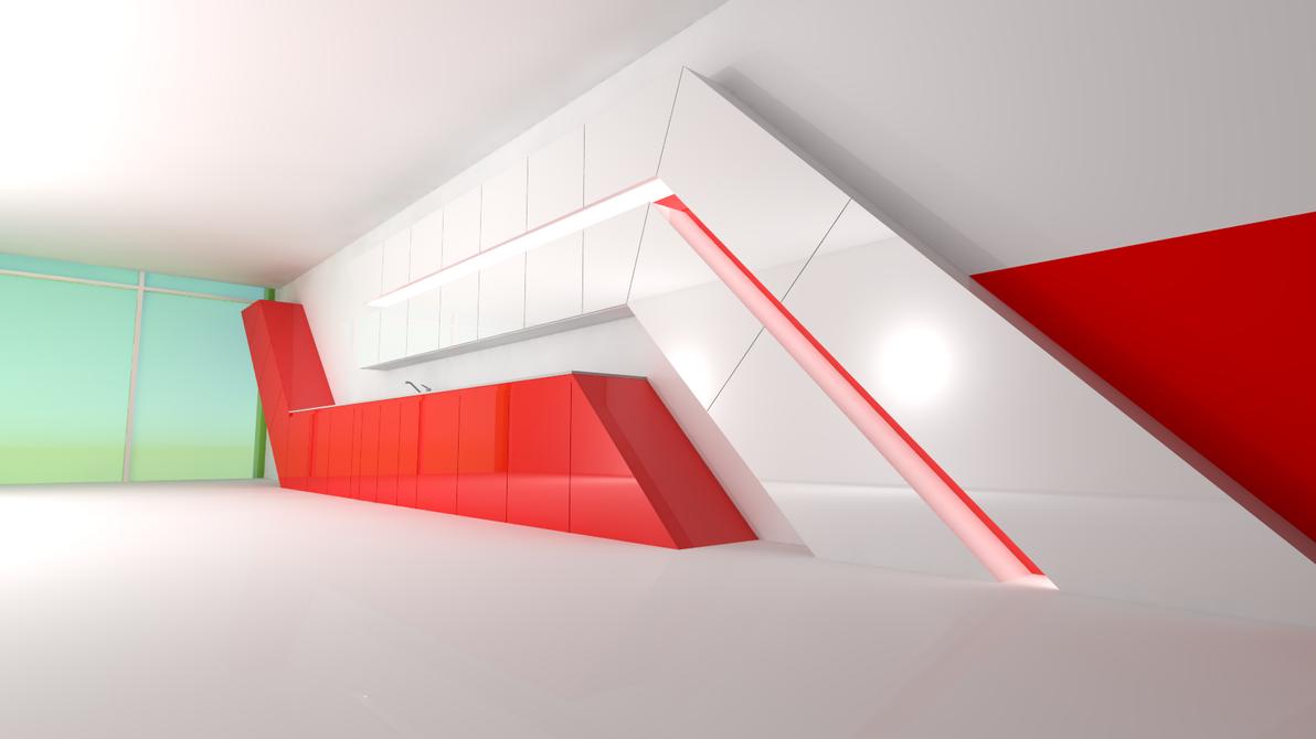 Mirrors edge inspired kitchen by super-jclone on DeviantArt