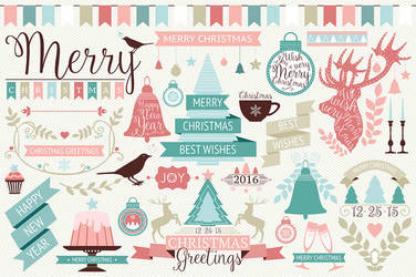 Free Vector Christmas design elements by symufa