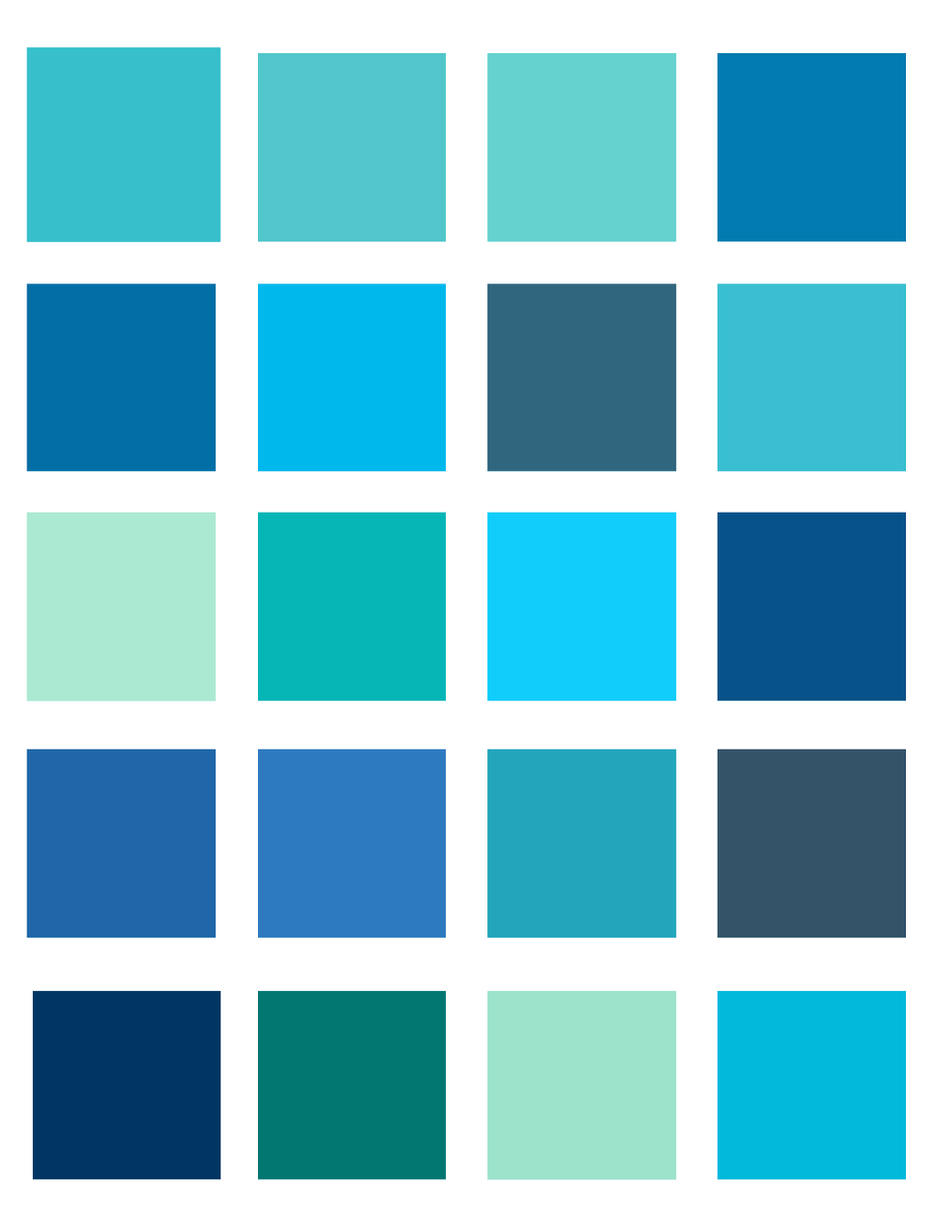 Neon light blue color palette by oceanisuna on deviantart for Ocean blue color combinations