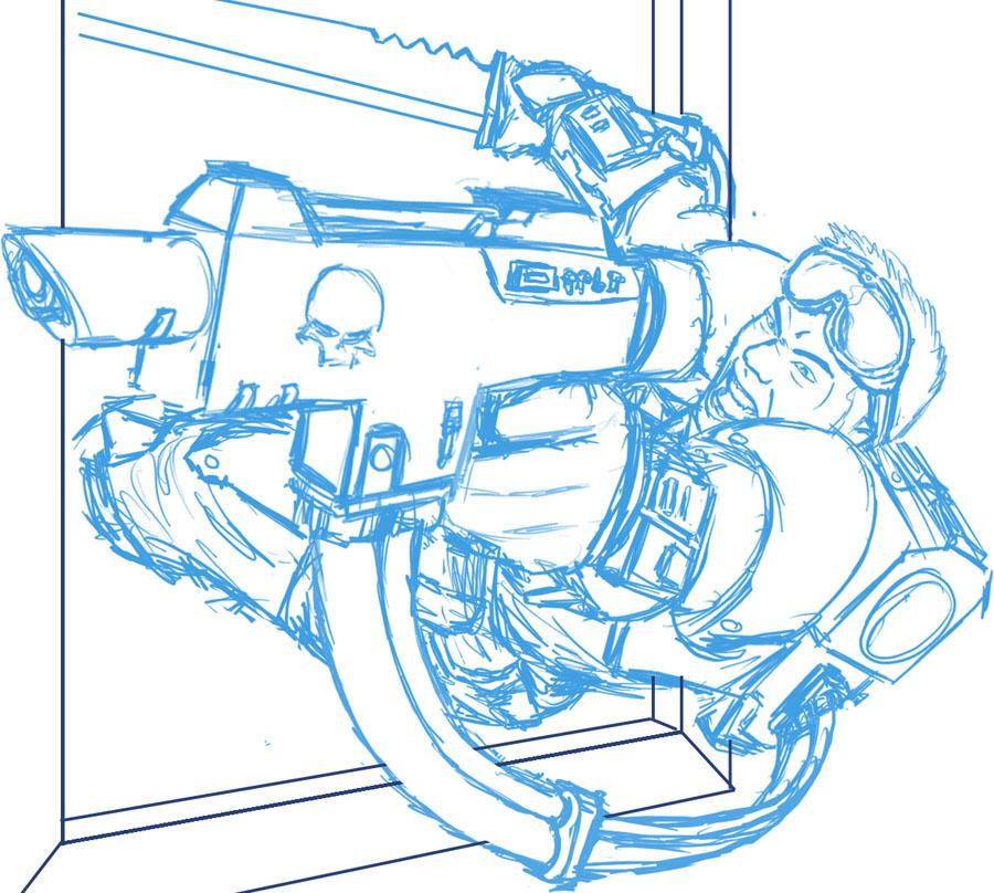 WH40K - Kasrkin J Sketch 2 by renzoku