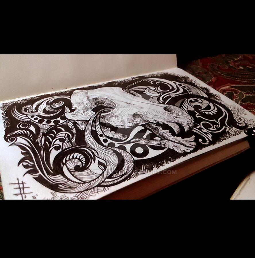 Skully Dog Inked by tintacity