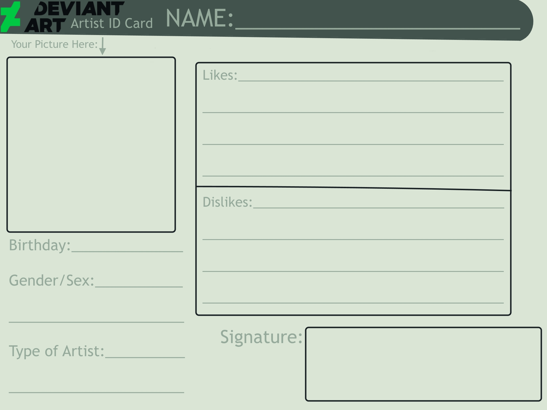 DeviantArt Artist ID Card (Blank) by SweetieSufiyah on ...