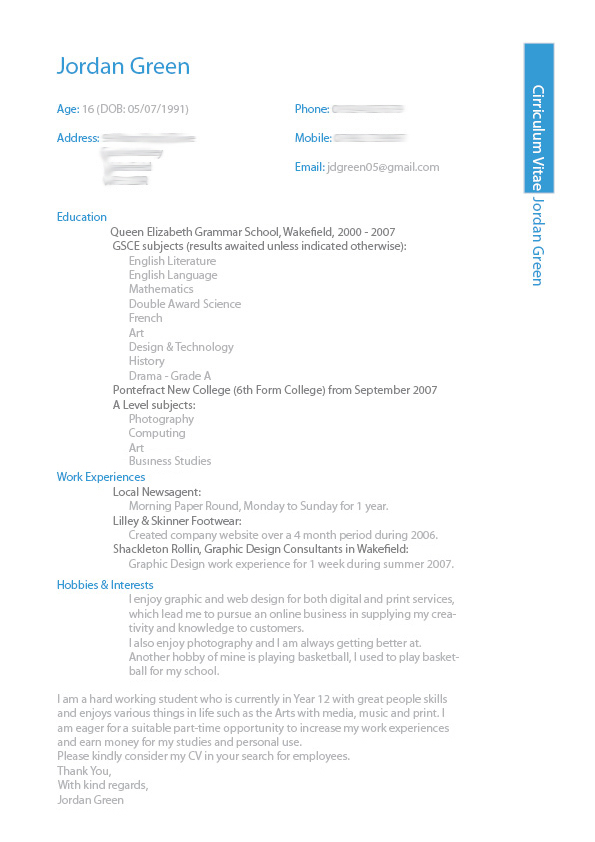 my cv design by jordygreen on deviantart