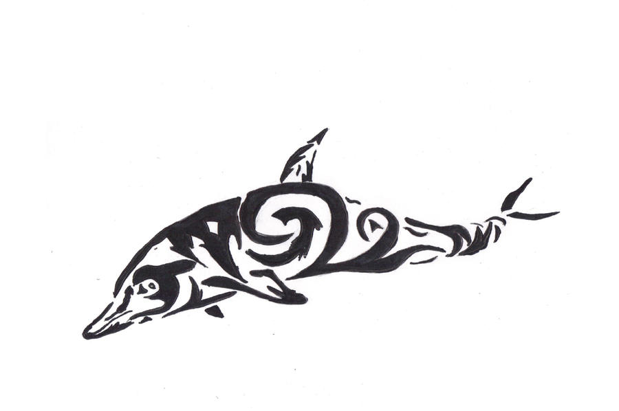 Tribal Dolphin Design by AnimeWolveslover