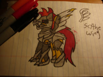 scythewing in armor :D by KarenTheDrawer