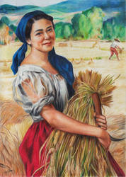 Maiden with Palay Stalks (colored pencil) by Abremson