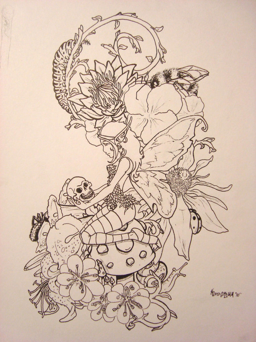 Fairy skull and some flowers by kiddgrimm on deviantart for Skull fairy tattoos