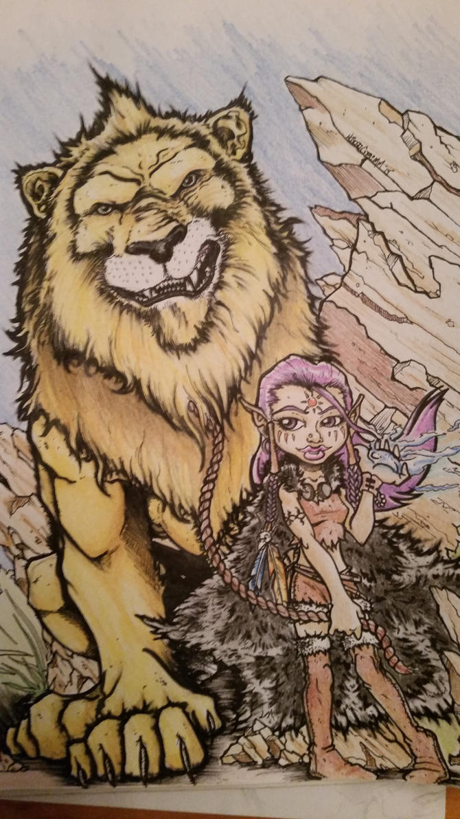 halfling druid and her lion companion by kiddgrimm