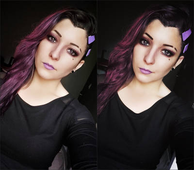 Sombra from Overwatch make-up