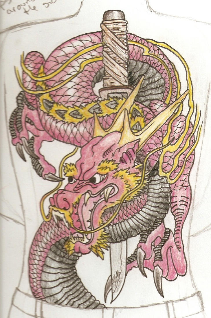 Dragon and Katana back tattoo