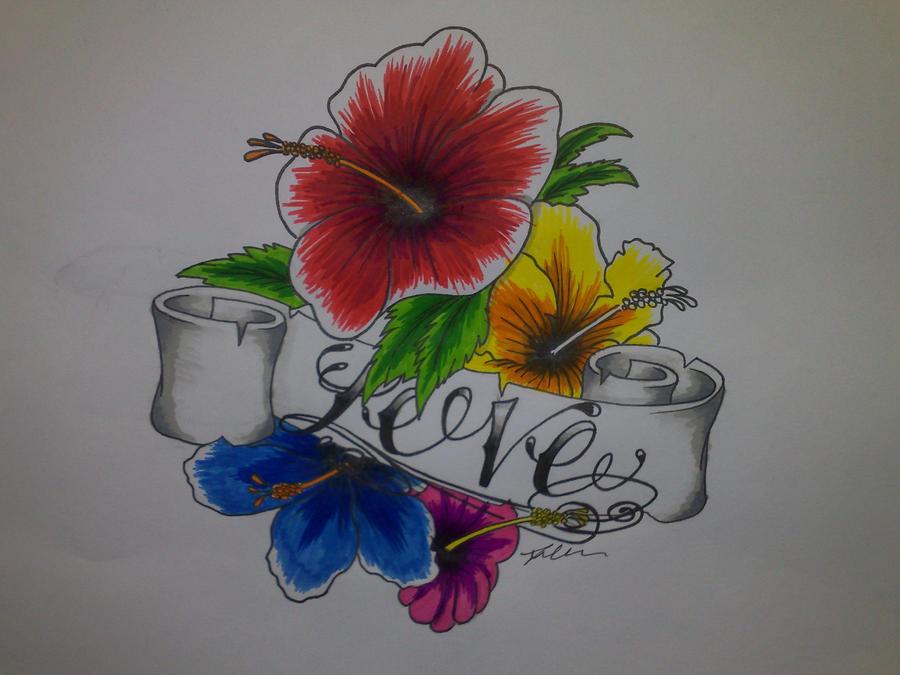 Hibiscus flower tattoo by ~DarkJusticar on deviantART