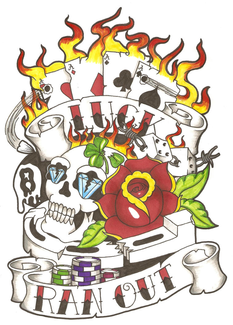 Old school gambling design by Dude-Skinz-Tattooing