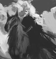 Sauron on wolf by anastasiyacemetery