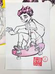 Pink skateboarder