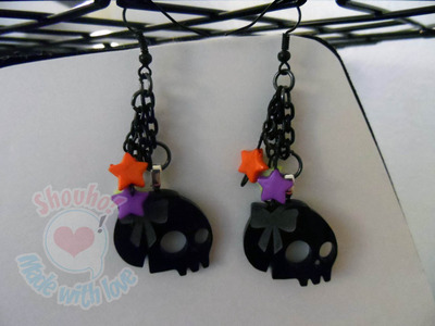 Skull with bow earrings by Shouho
