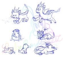Sketches of Spyro by SailorRaybloomDZ