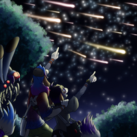 Tracy and Iris's first meteor shower by coyotepack