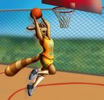 Carol makes a slam dunk