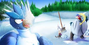 Pelting the Blizzard bird brat!
