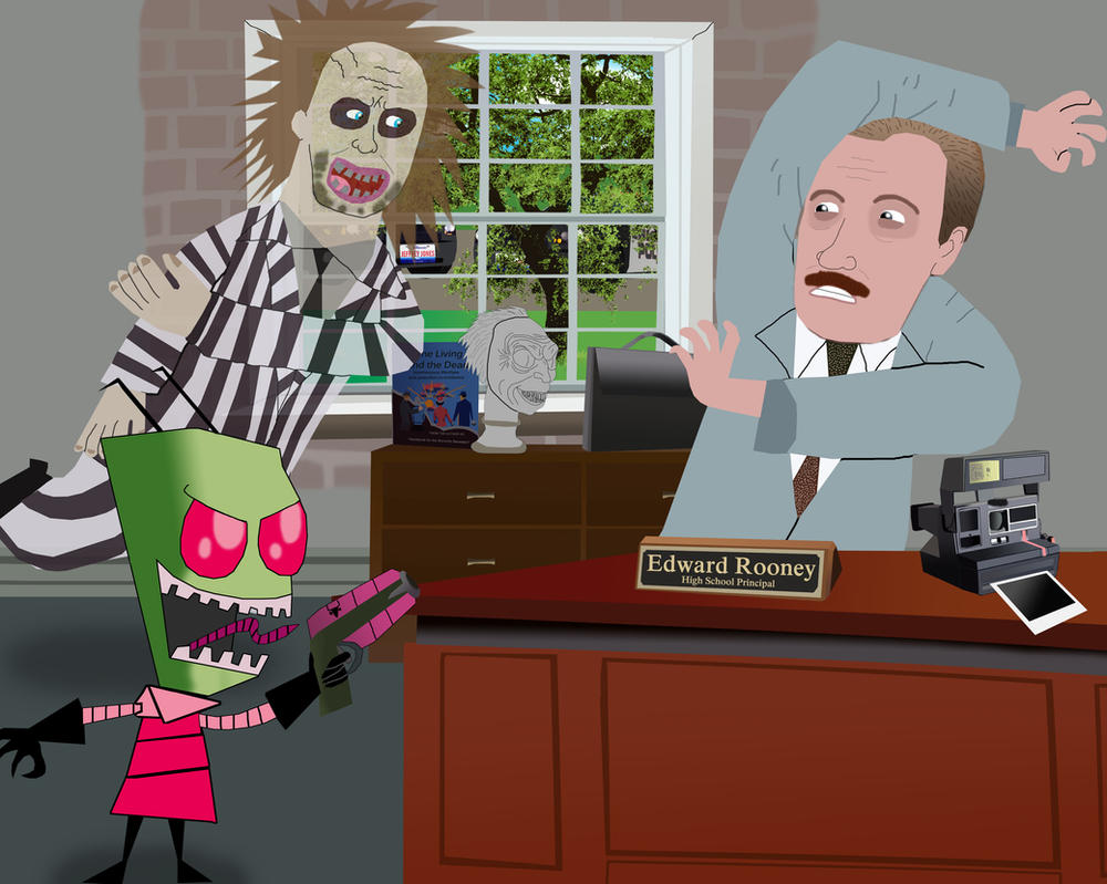 Beetlejuice and Zim haunt Principal Rooney by AndrewSS23