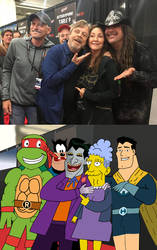 Raphael, Pete, Joker, Agnes, and Captain Hero