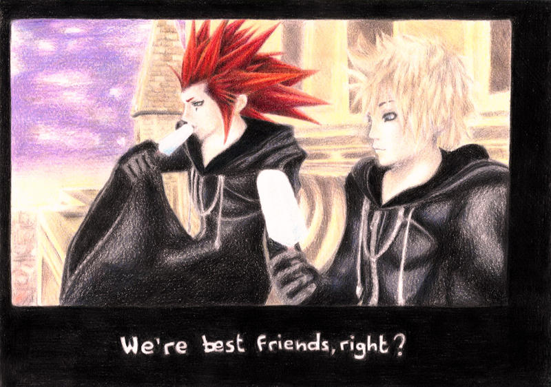 axel and roxas best friends by elyxaz