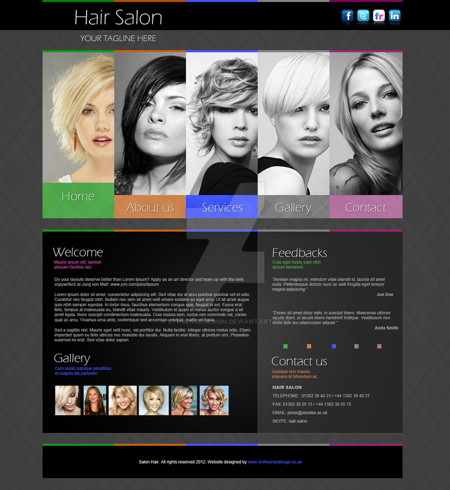 Hair Salon Website Design Template by 6thsensedesign on DeviantArt