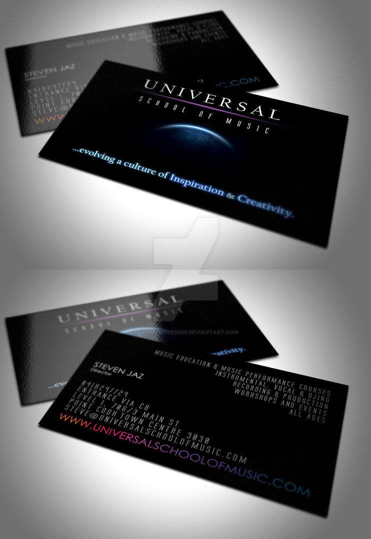 Universal school of music business card by 6thsensedesign for Music business card design