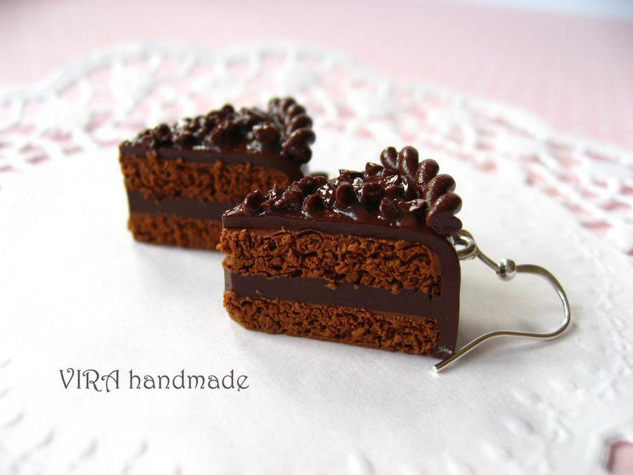Realistic chocolate Cake slices earrings by virahandmade