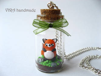 Cute terrarium necklace with a fox by virahandmade