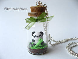 Cute terrarium necklace with a panda by virahandmade