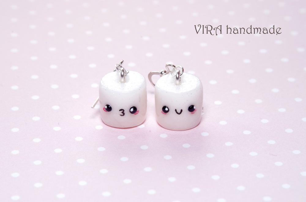 Kawaii marshmallow earrings by virahandmade