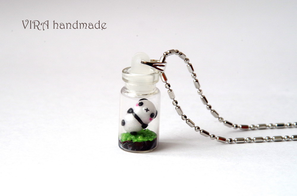 Tiny panda in a bottle necklace by virahandmade