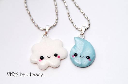 Kawaii Cloud and Rain Drop Best Friends Necklaces