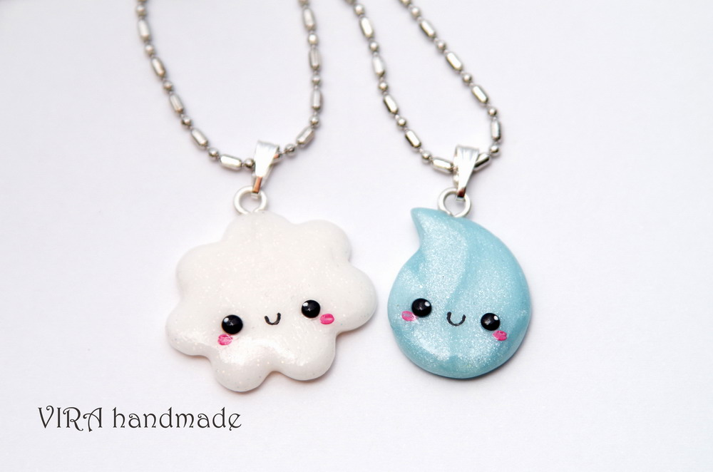 Kawaii Cloud and Rain Drop Best Friends Necklaces by virahandmade