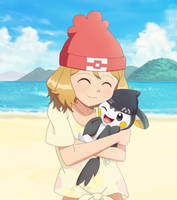 Commission: Alola Serena Hugging Emolga by DaDonYordel