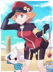 Keira wearing a Pasio Pokemon Ranger outfit