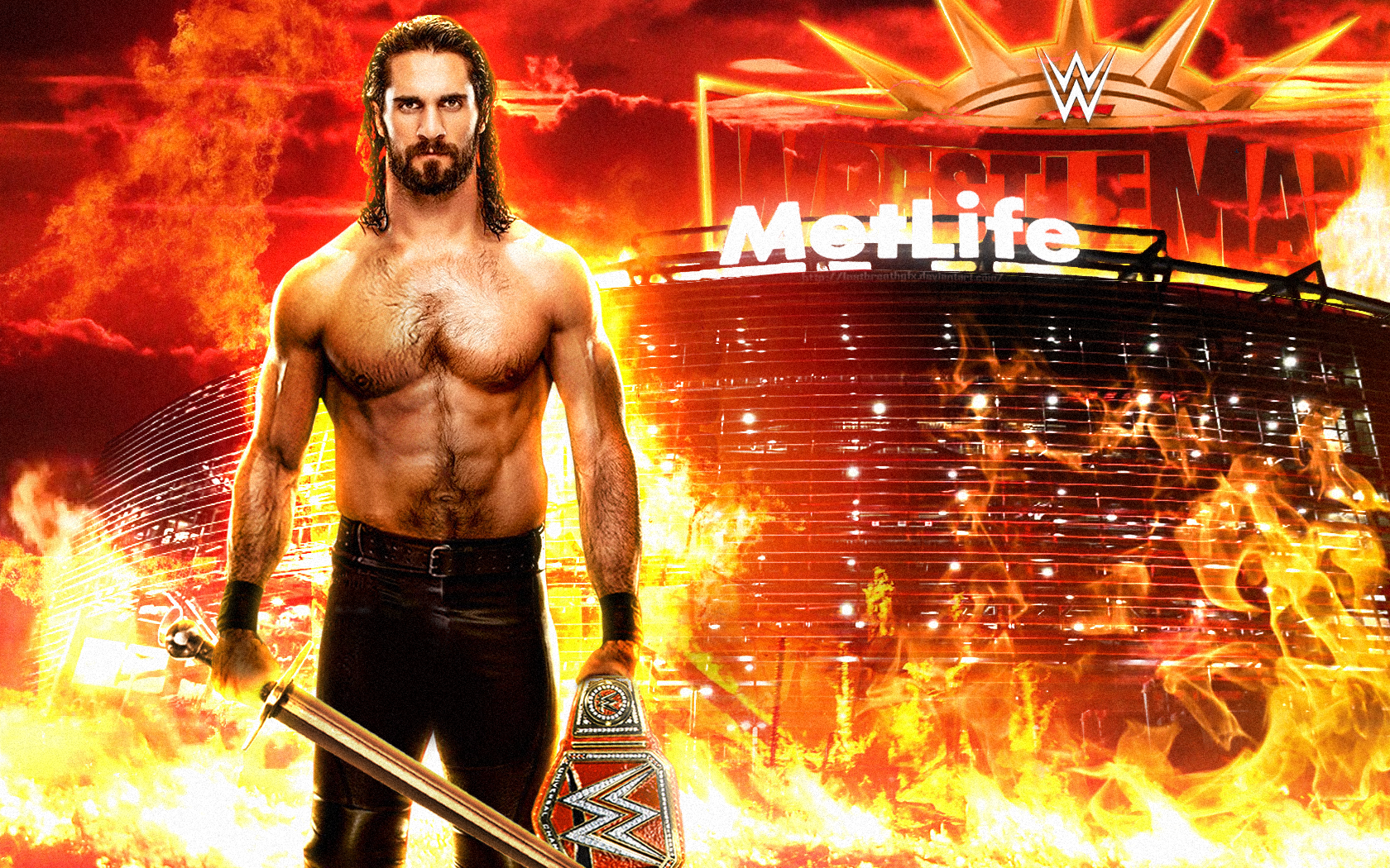 Wwe Seth Rollins Slay The Beast Wallpaper 2019 By