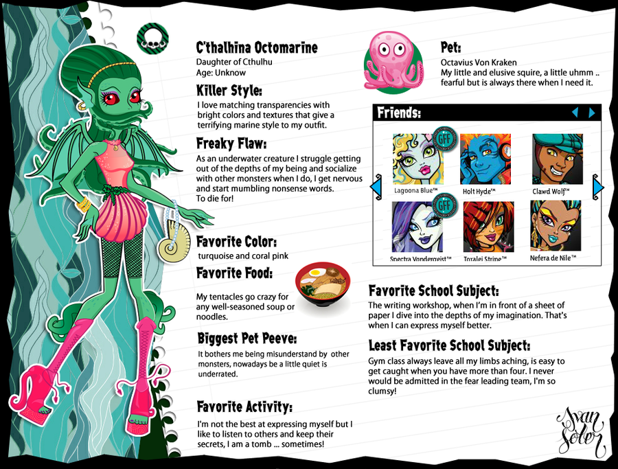 Cthalhina Octomarine Monster High OC By AlleyCat666