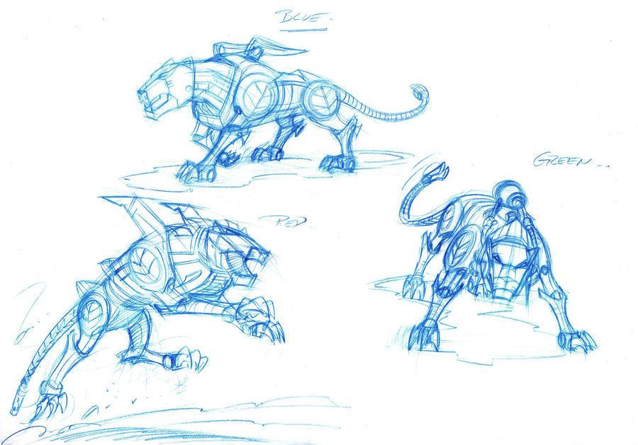Voltron lions sketches by DarioBrizuelaArtwork