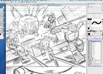 TMNT New Animated Adventures panel process 2 by DarioBrizuelaArtwork
