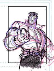 Power Man Sketch card layout. by DarioBrizuelaArtwork