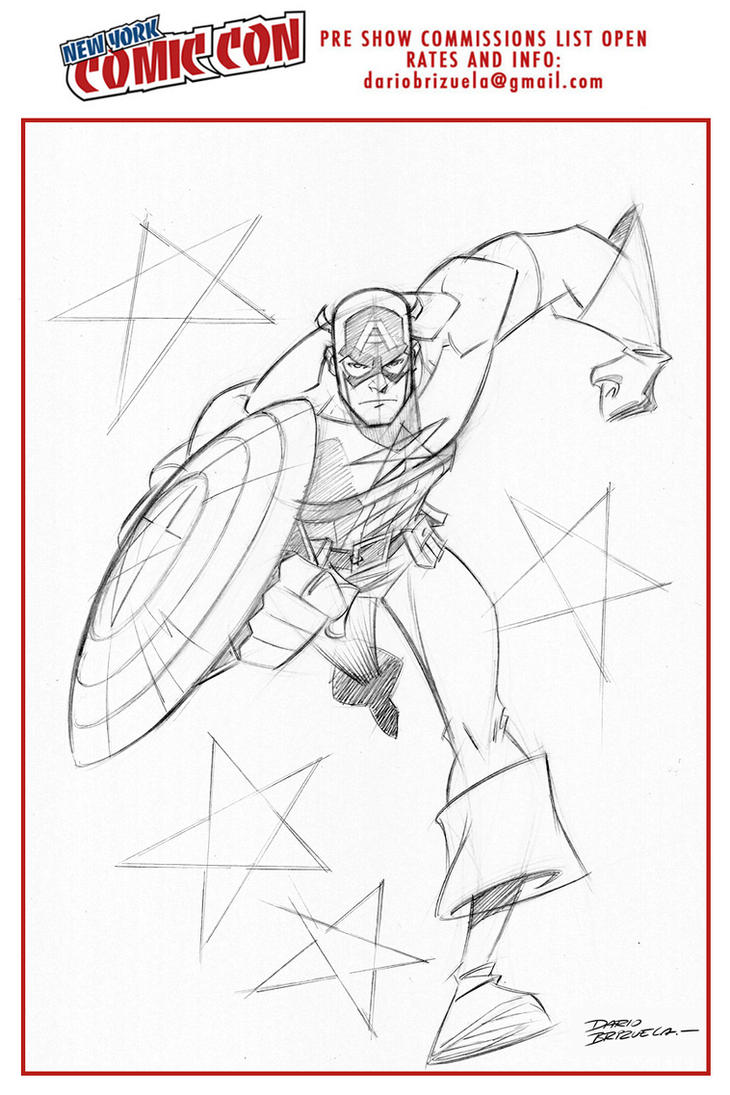 Captain America commission for nycc 2016! (pencil) by DarioBrizuelaArtwork