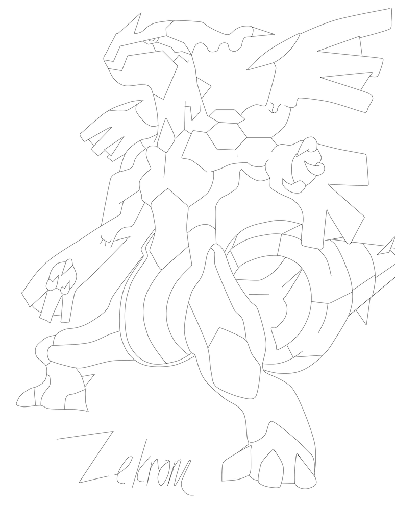 zekrom ex coloring pages | Zekrom Line art by ChromeFlame on DeviantArt