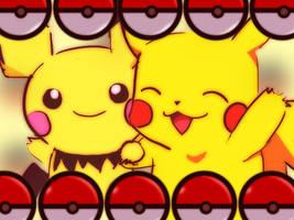 Pikachu and Pichu by Helenoodle