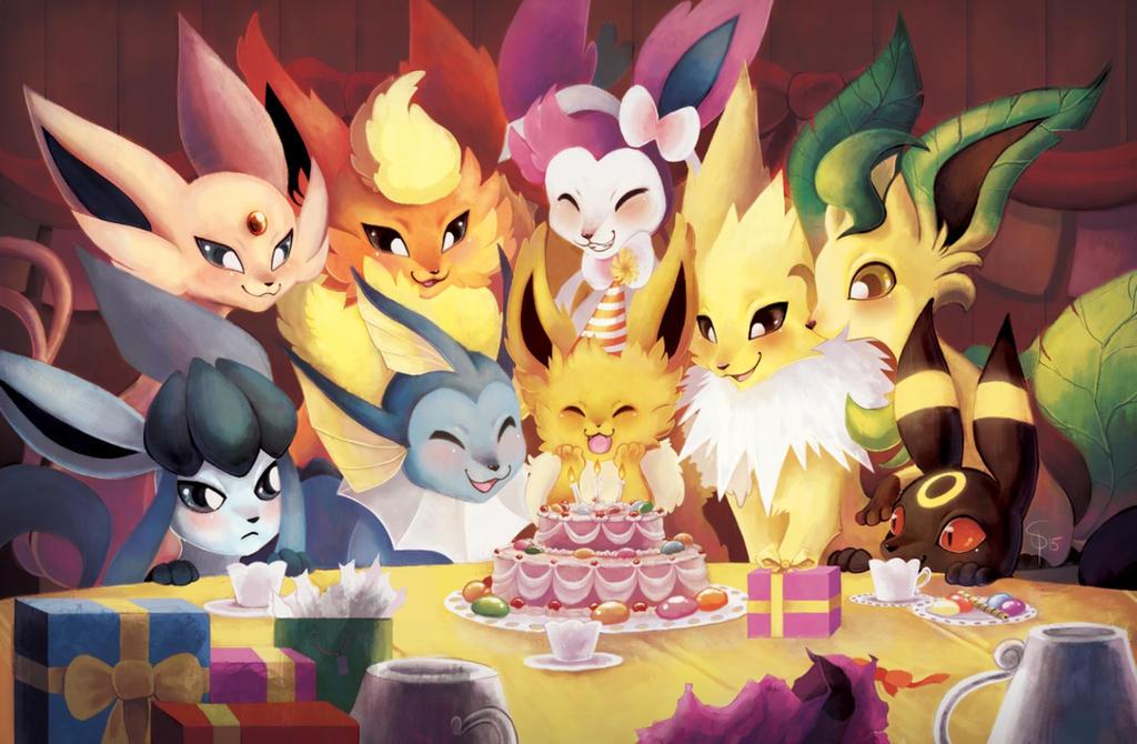 Happy birthday, Hugues-kun ! ♥ Eeveelutions_birthday_party_by_spacesmilodon-d90vt3d