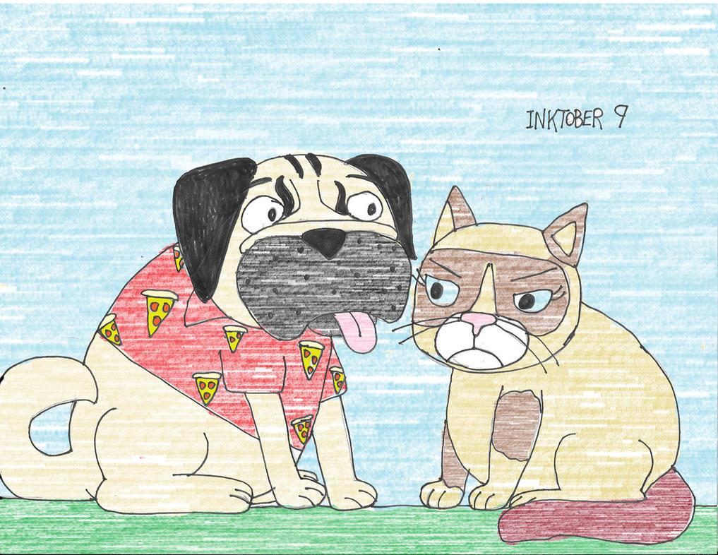 Inktober 9 doug the pug meets grumpy cat by daniellaux429 on inktober 9 doug the pug meets grumpy cat by daniellaux429 m4hsunfo