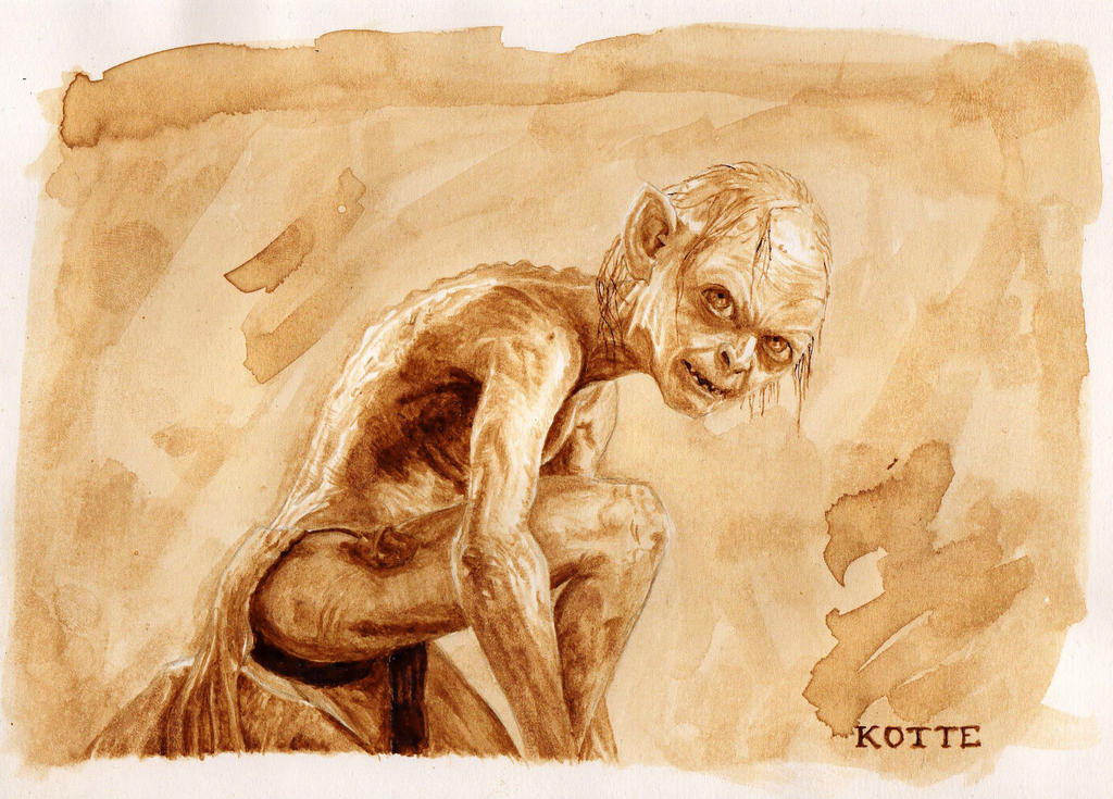 Gollum the brown coffee painting by adnaurian on deviantart for Painting with coffee