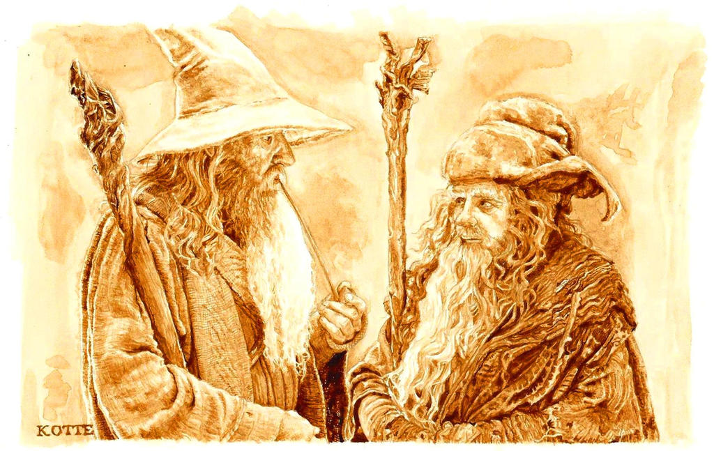 Gandalf and Radagast in coffee by Adnaurian