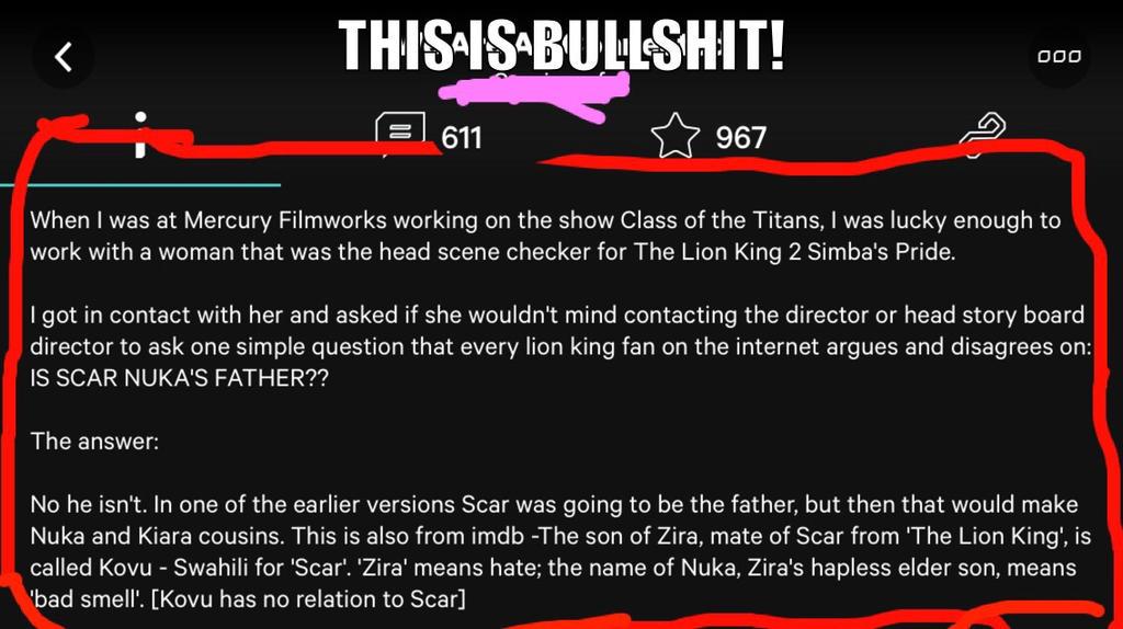 producer claims Nuka isn't Scar's son!?? FAKE!! by ScarxZira10889TLK